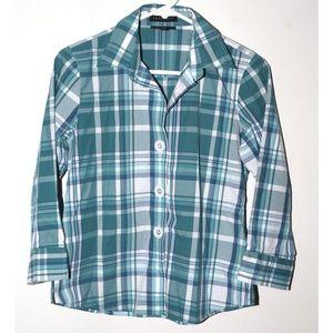 Foxcroft wrinkle free Blue and white plaid shirt